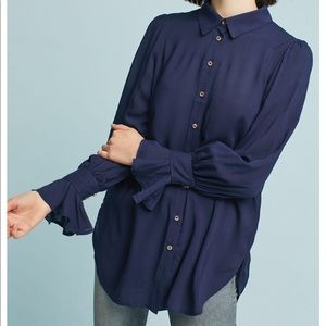 Anthropologie Maeve Long Sleeve Button Down Blouse